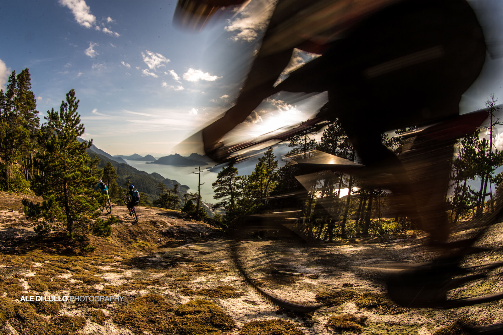 Ripping past the epic views of Howe Sound.