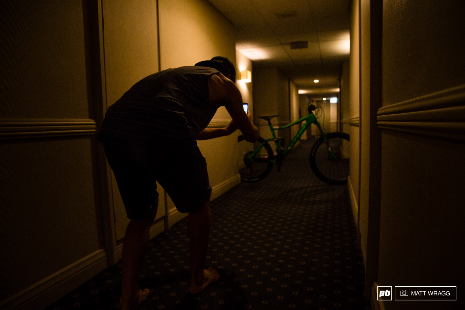 Everyone has different practice day rituals the hotel corridor bike selfie seems to be an ever more common one these days.