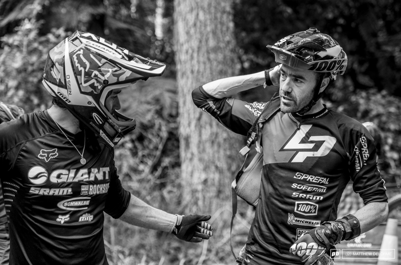 Vouilloz and Barelli have a chat before the transfer between stages four and five. Barelli injured his calf and decided to pull out of the race.