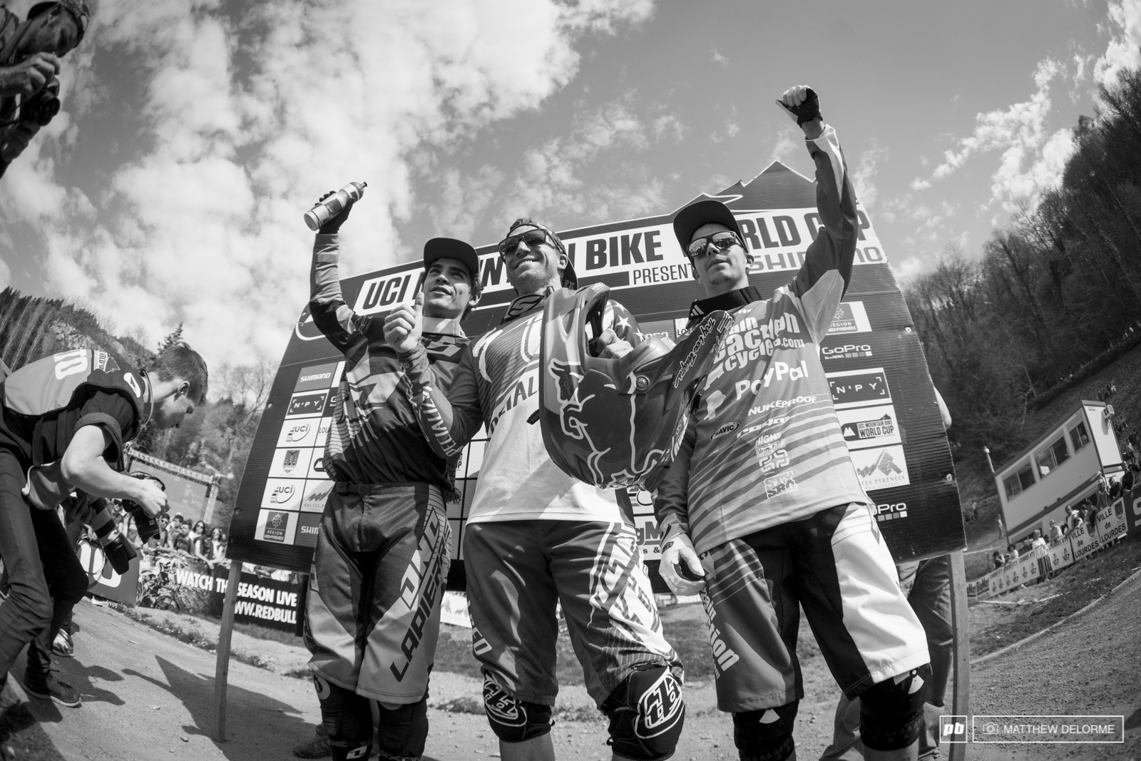 Aaron Gwin Loic Bruni and Mike Jones. Things surely got shaken up here in Lourdes. It s going to be an exciting season.