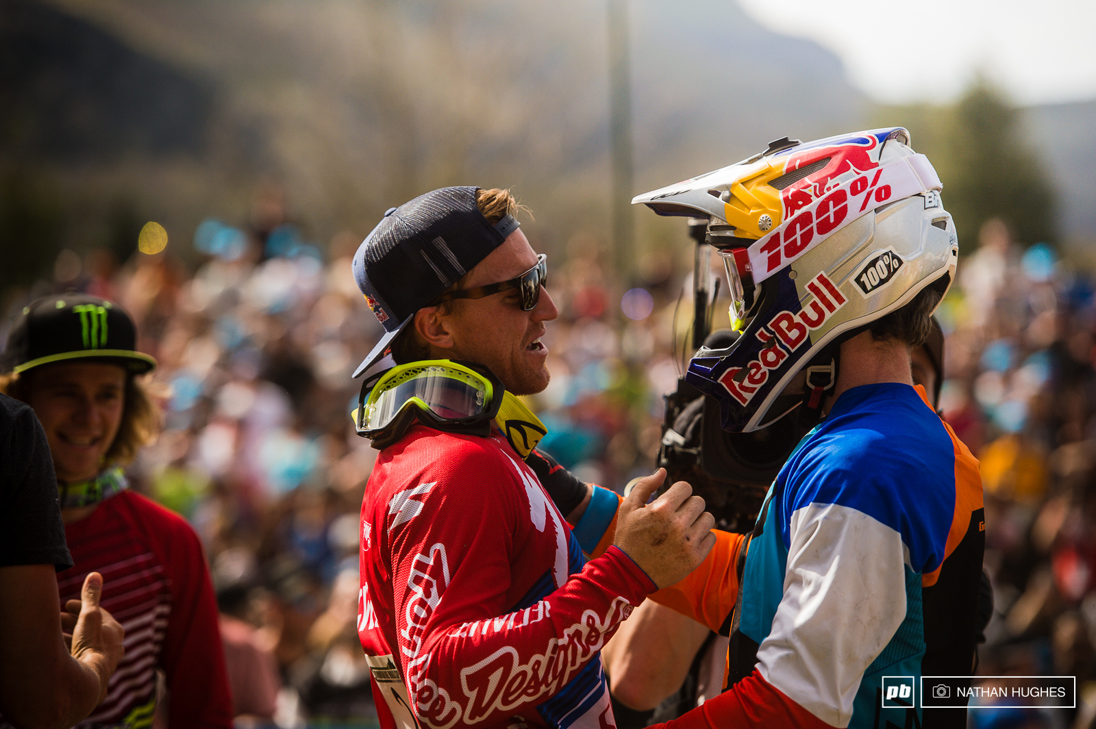 Bruni congratulates Gwin on one unbelievable ride in front of the packed grandstand of downhill fans.