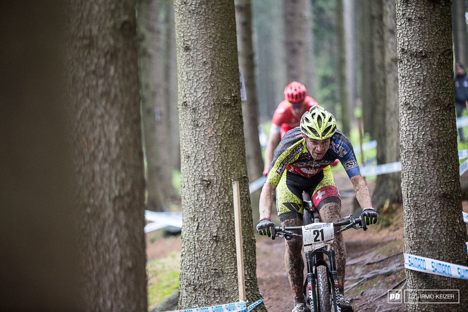 Lars Forster puts the hammer down in the 2nd lap. The Swiss rider battled up front throughout the race.