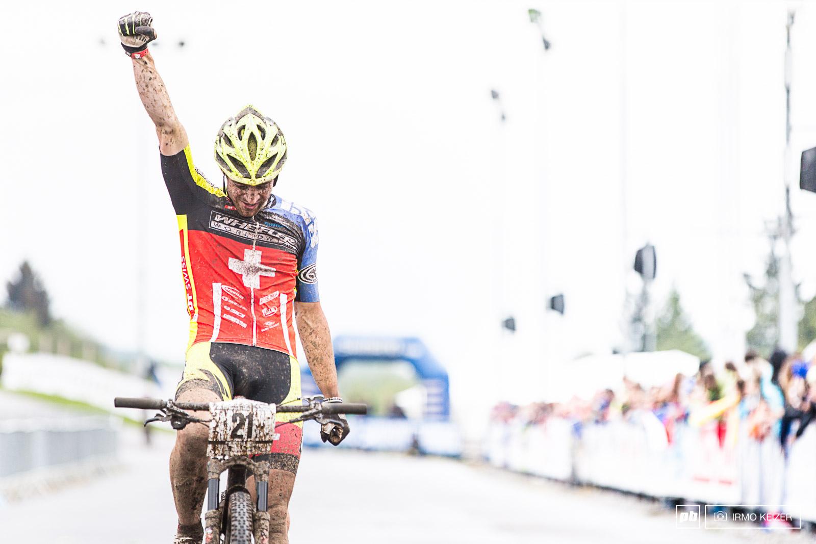 Lars Forster takes the win in the men s U23 race in Nove Mesto.