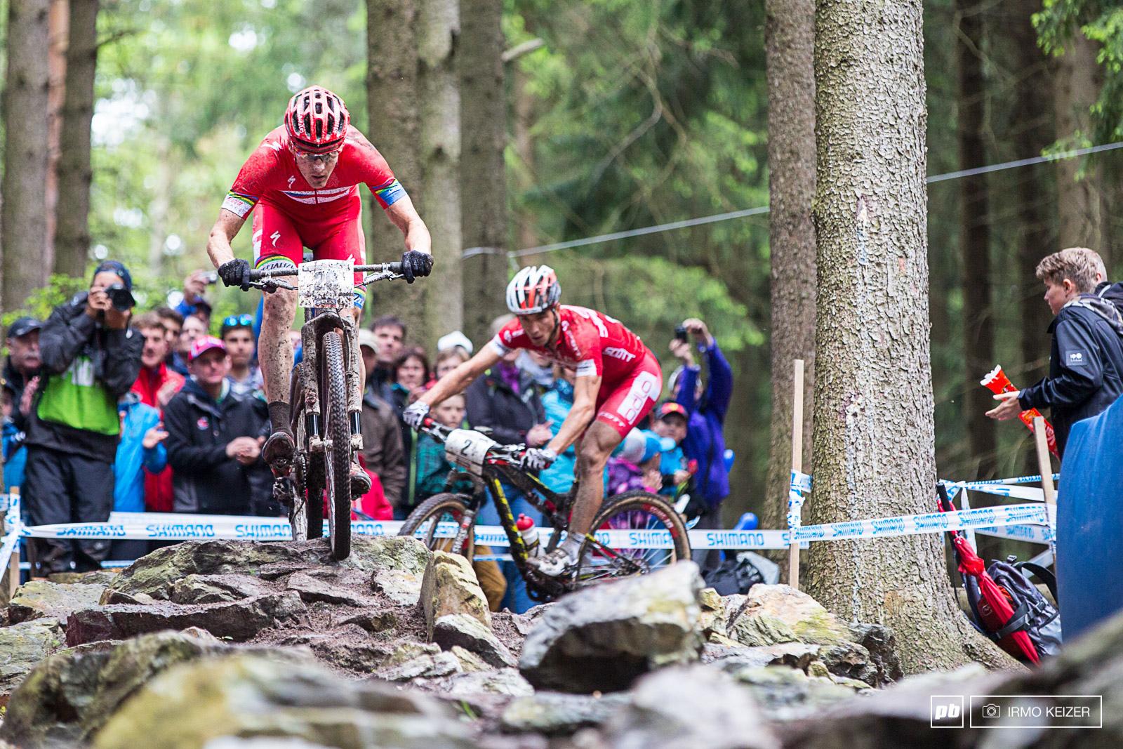 Jaroslav leads Schurter trails behind.