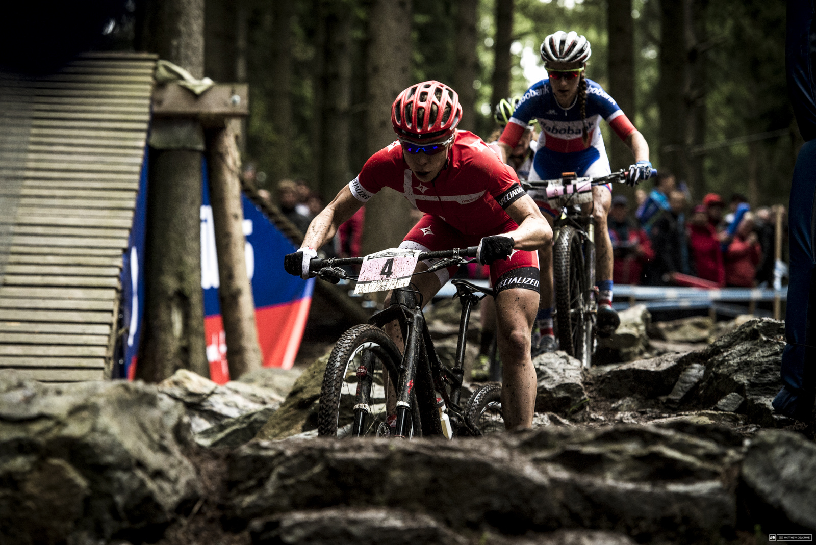 Annika Langvad finding her rhythm in the Mitas rock garden. She finished fifth.