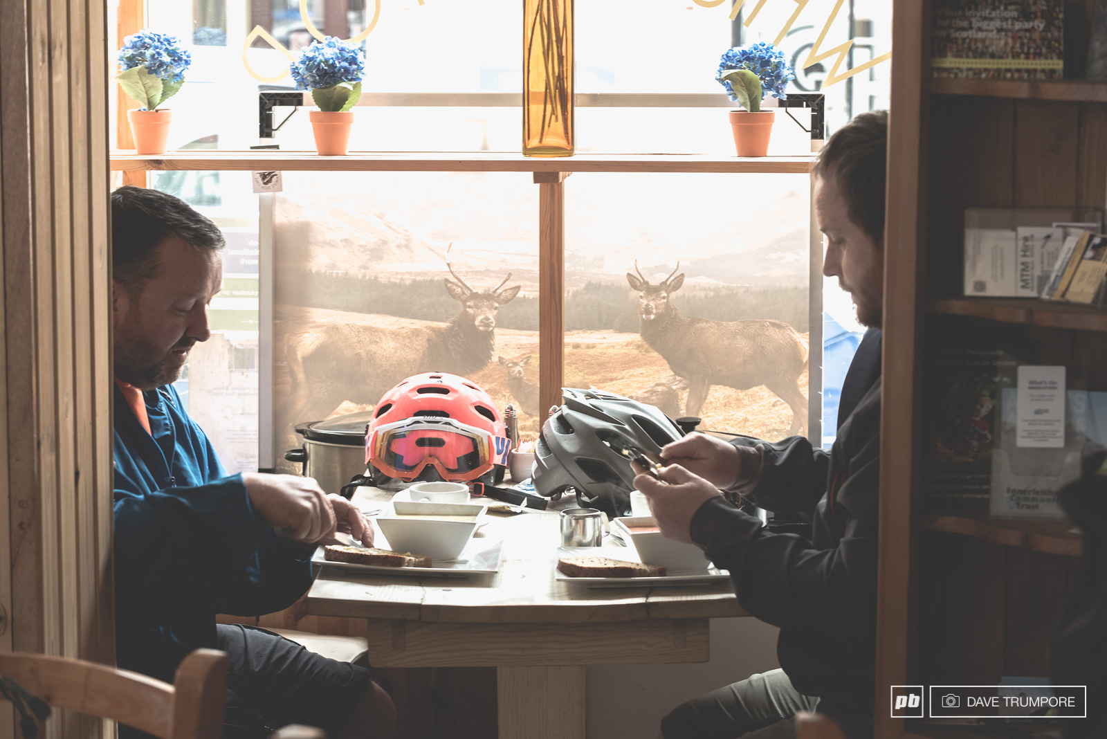 With long liaison stages through the small villages many riders could be seen at the local cafes relaxing refueling and most importantly drying out