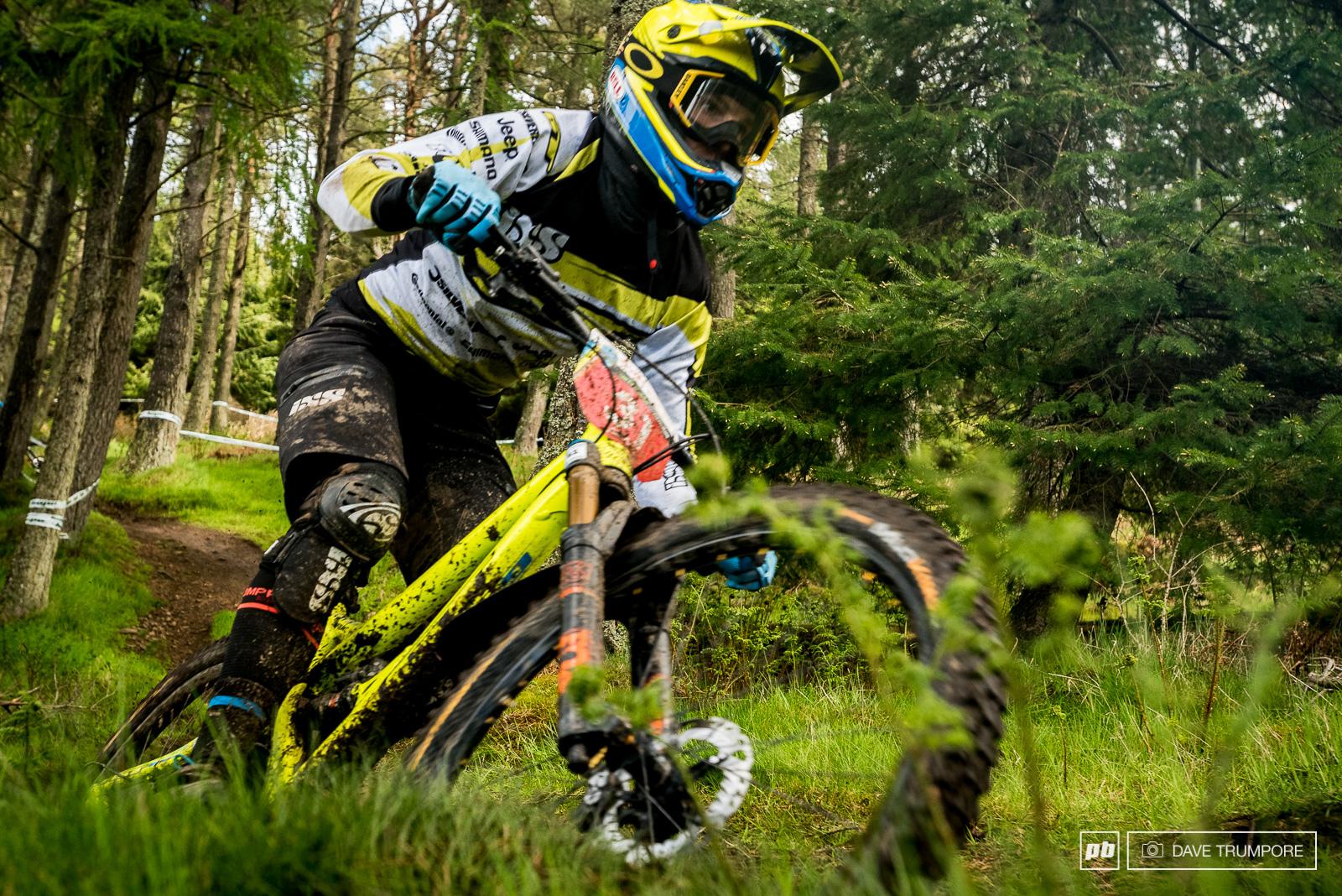 Dan Atherton blast the lower woods on Stage 8