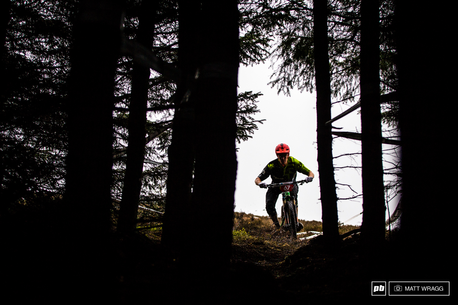Chris Johnston diving into the dark woods at the top of stage four.