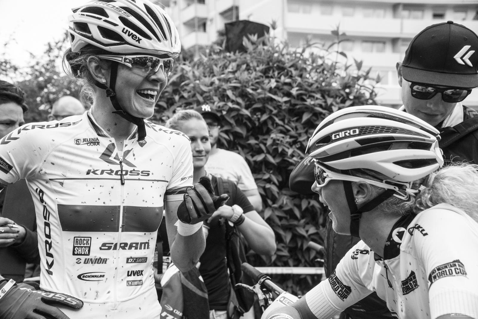 Mia and Jolanda share a laugh at the finish.