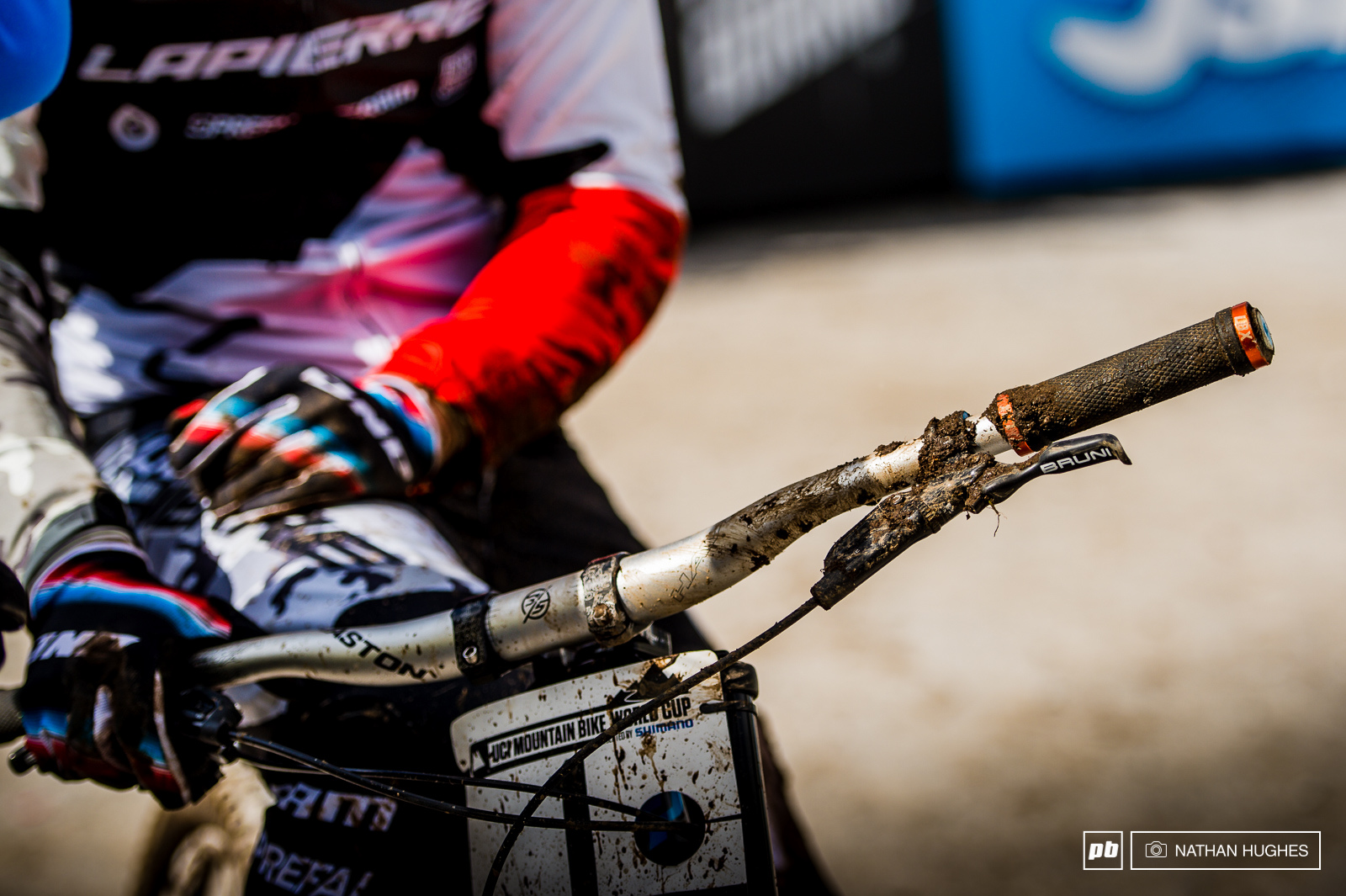 One of these days Loic s going put wrongs to right. Somehow he was still able to come in 7th and only drop to 2nd in the overall despite his spill in the woods. Look out Leogang...