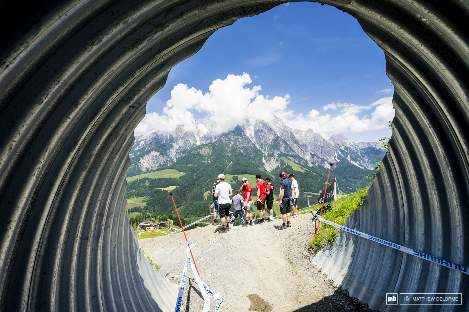 Because the view here never gets old. Mountains framed in steel culverts.