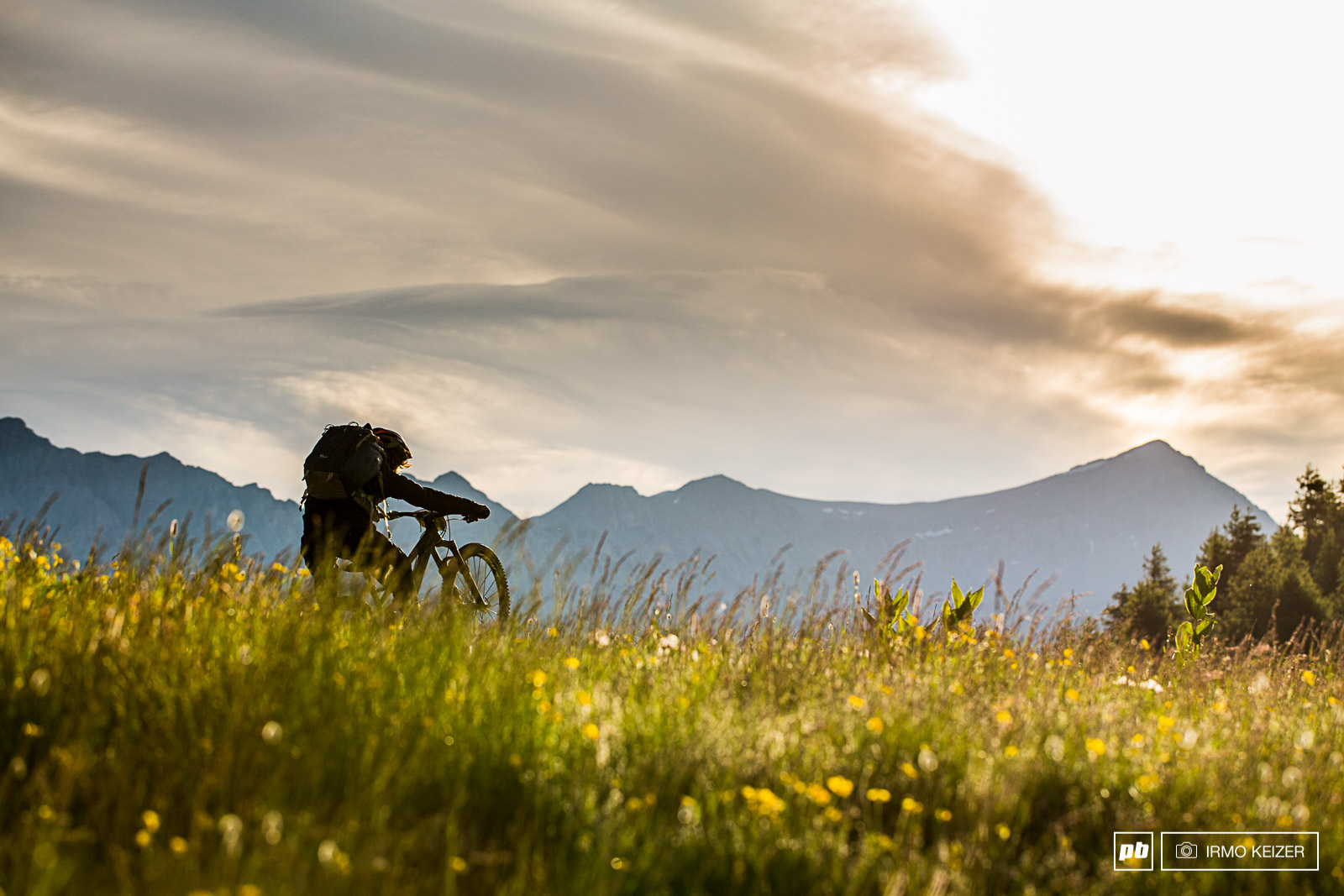Sam Needham making his way down Col des Champs in the early morning.
