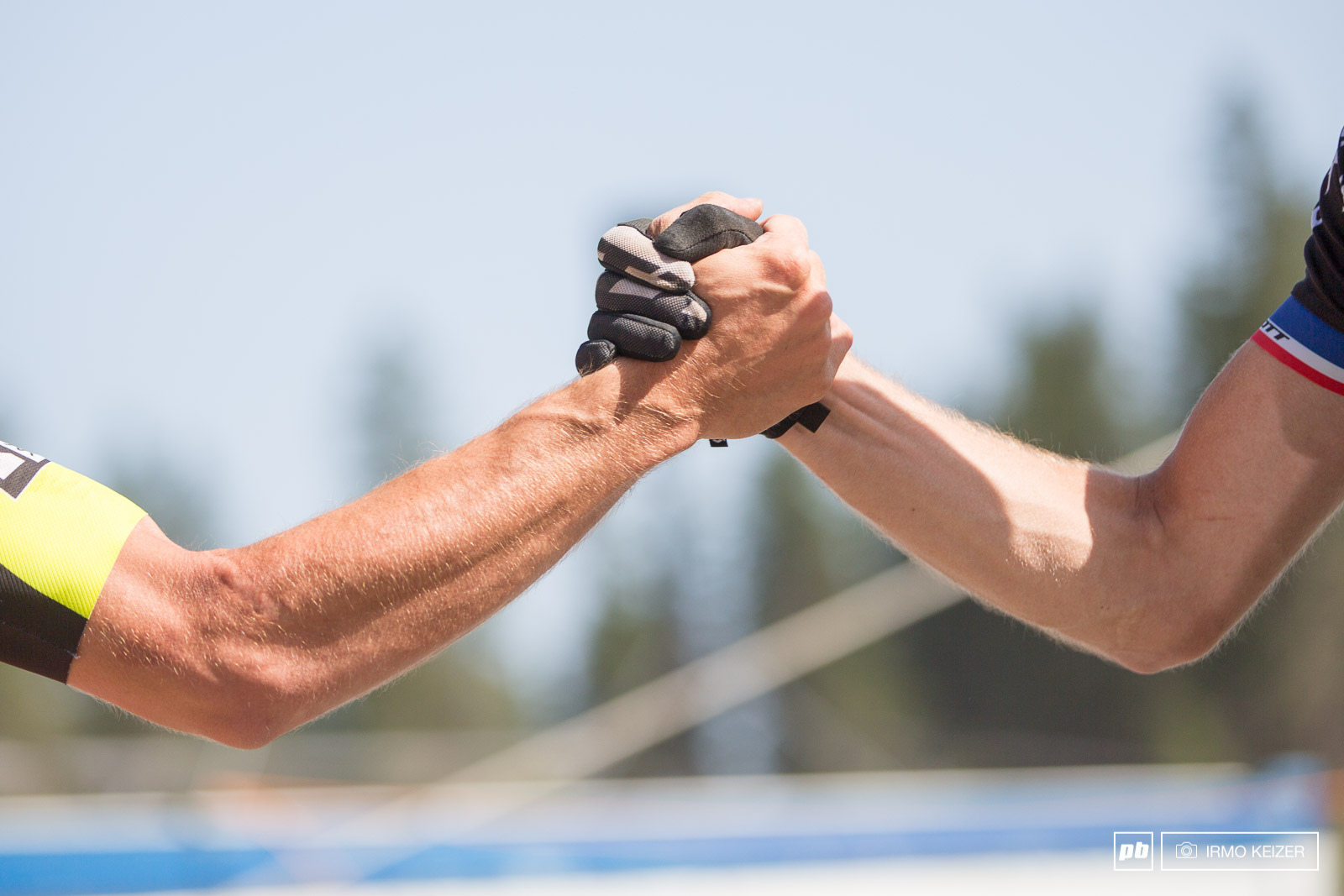 Titouan Carod and Lars Forster congratulate each other after the race.