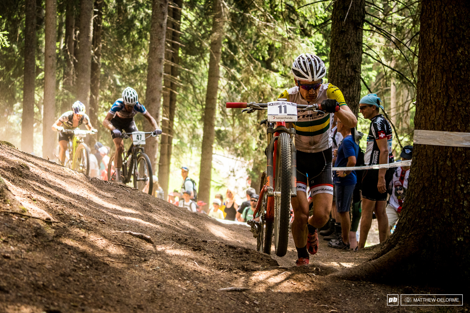 Dan McConnell was another who was struck with back luck flatting far out from the tech zone.