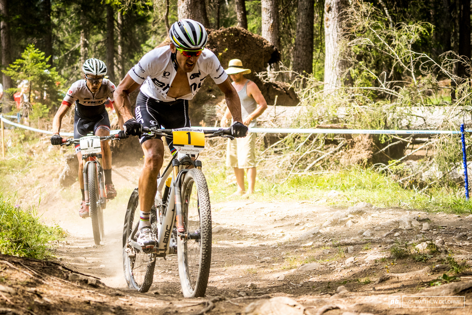 Julien Absalon flatted on lap six that flat landed him on ninth place.