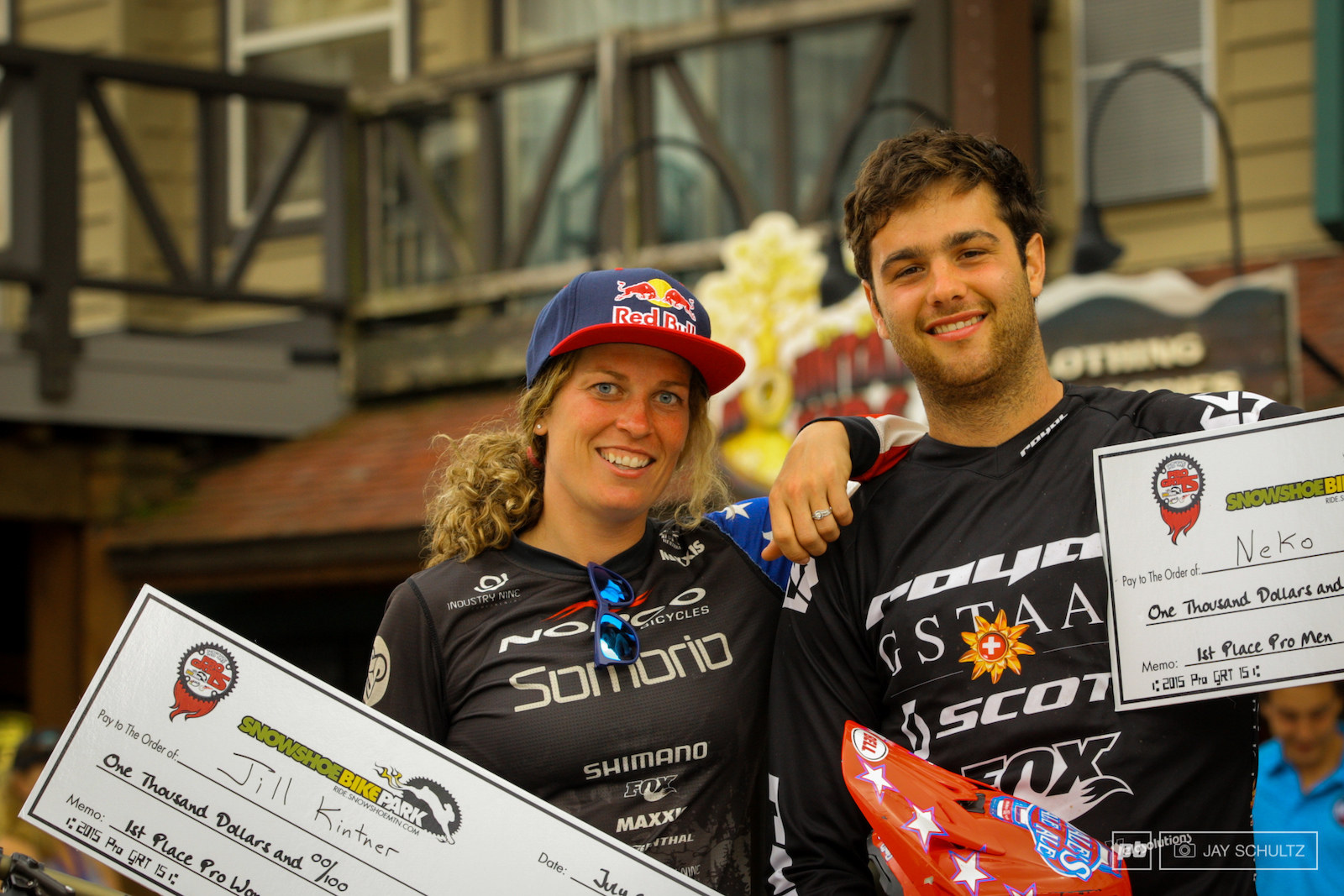 Pro Winners - Jill Kintner and Neko Mulally. Time to enjoy a hard weekend of work well really all play and no work.