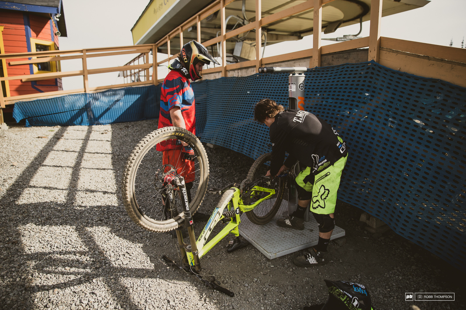 Meanwhile Tyler and Noah make use of the handy repair stand at the top of the mountain.