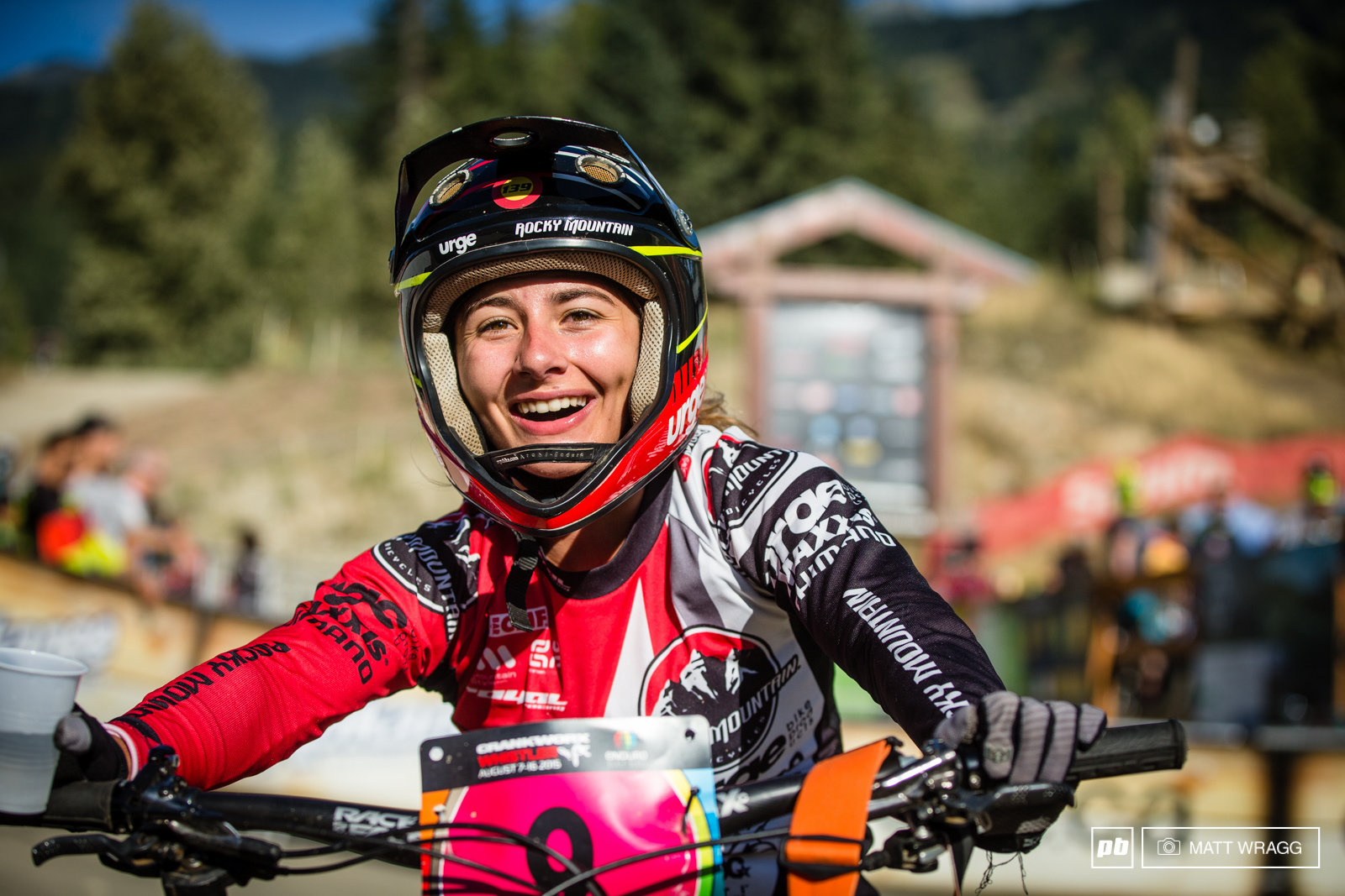 Isabeau Courdurier realises she wo a stage during Enduro World Series round 6 Whistler Canada 2015. Photo by Matt Wragg.