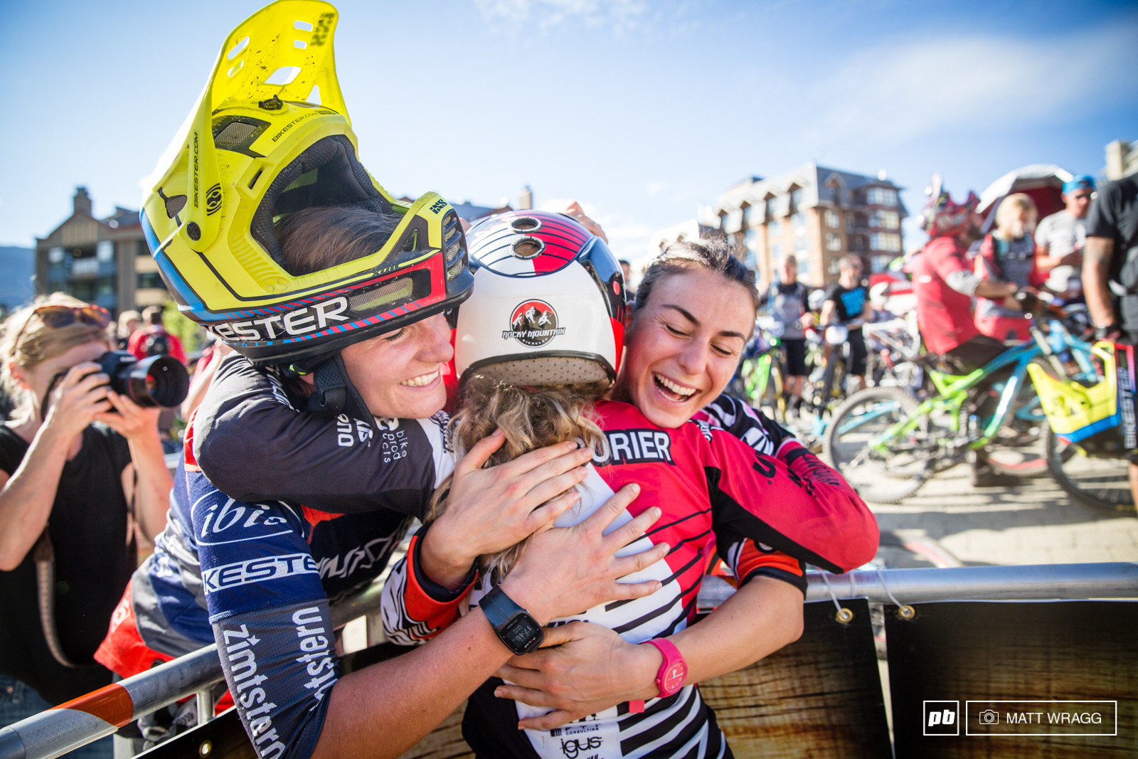 Riders congratulate Isabeau Courdurier during Enduro World Series round 6 Whistler Canada 2015. Photo by Matt Wragg.