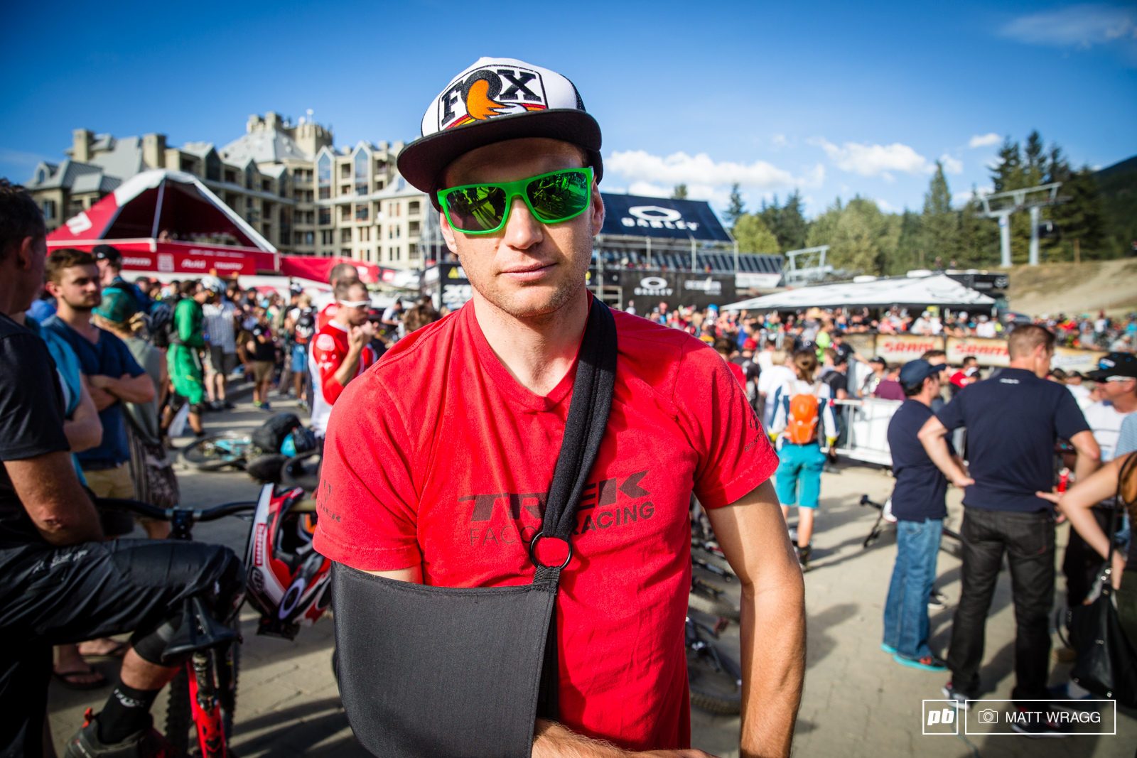 It was heartbreak for Justin Leov today. He went down on one of the wooden ladder bridges on stage one dislocating his shoulder badly. He is booked in to see the doctor tomorrow to find out what the next steps are but it s certainly the end of his title hopes and most likely his season.