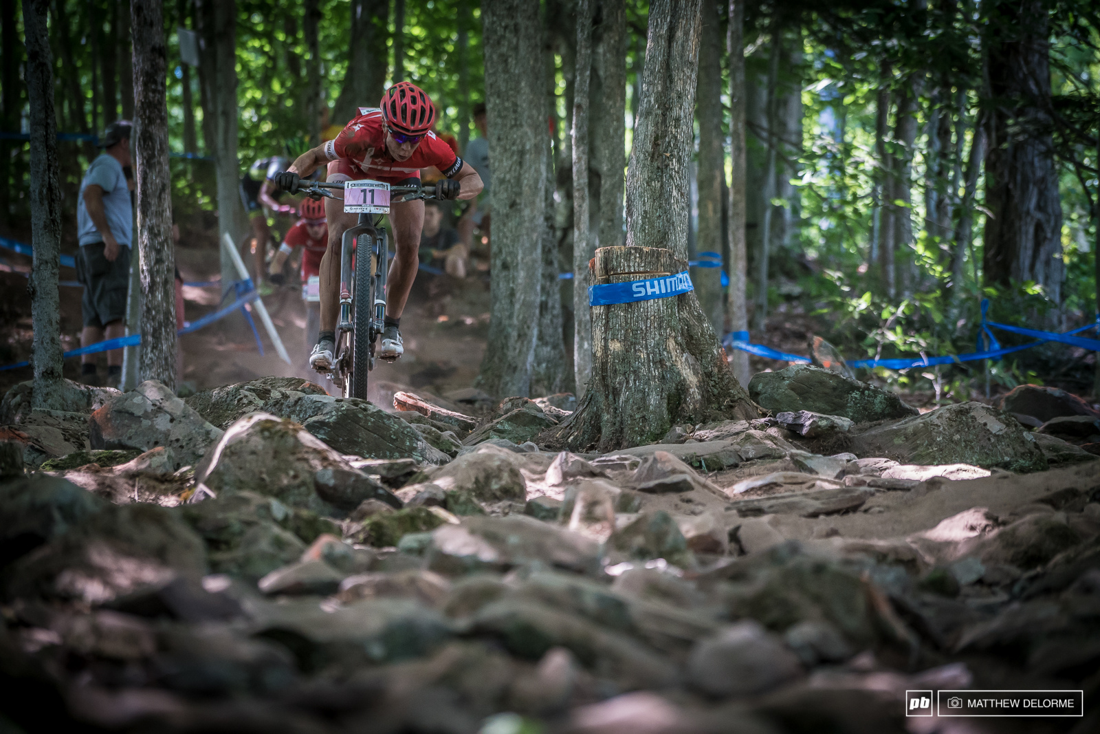 Annika Languid getting low in the rock garden. An early spill didn t spoil her race she held on to finish third.
