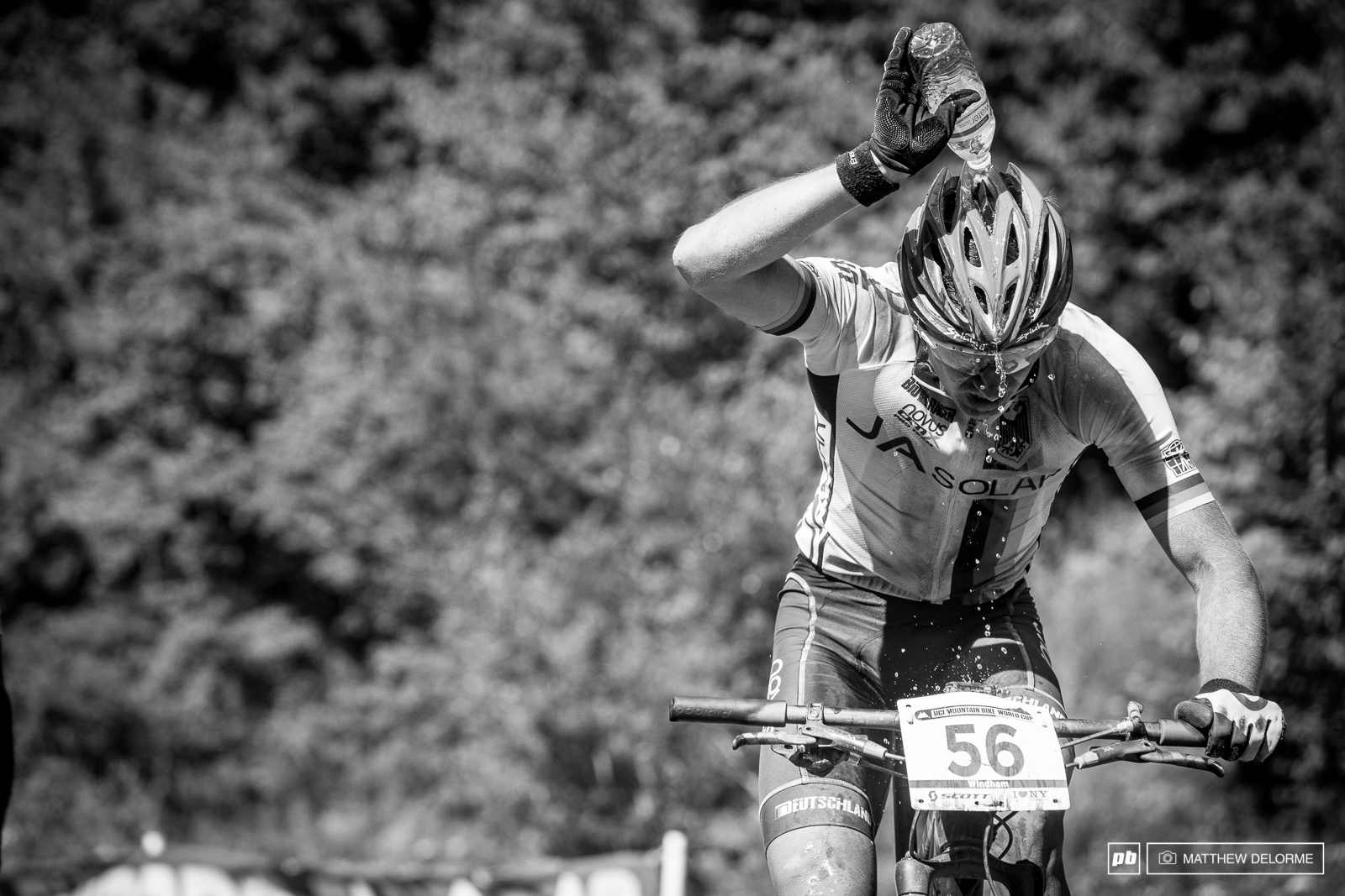 At the top tech zone most racers chose to cool down rather than take on drinking water.