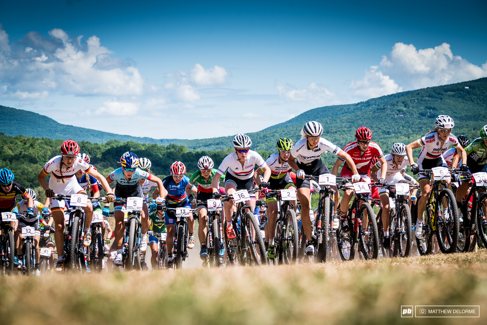 Womens start all up hill. Then things got wild and the field was blown apart. It made for some very interesting racing.