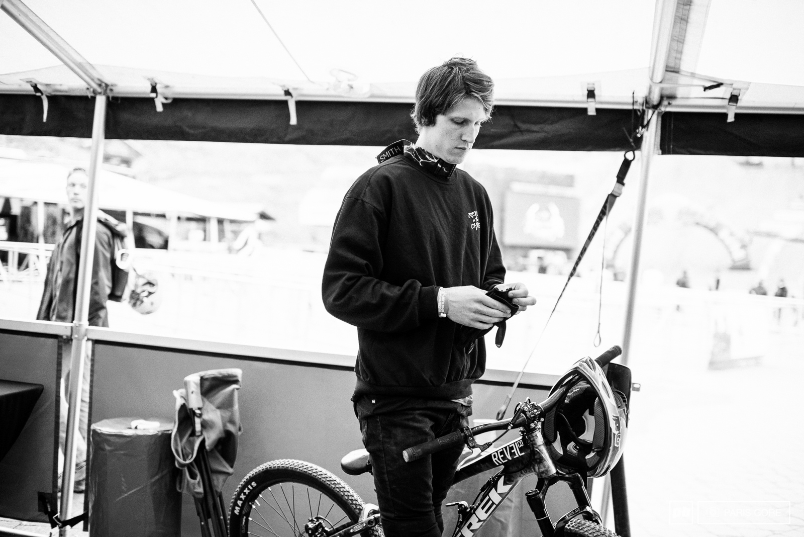 Brandon Semenuk getting ready to head up for an early practice.