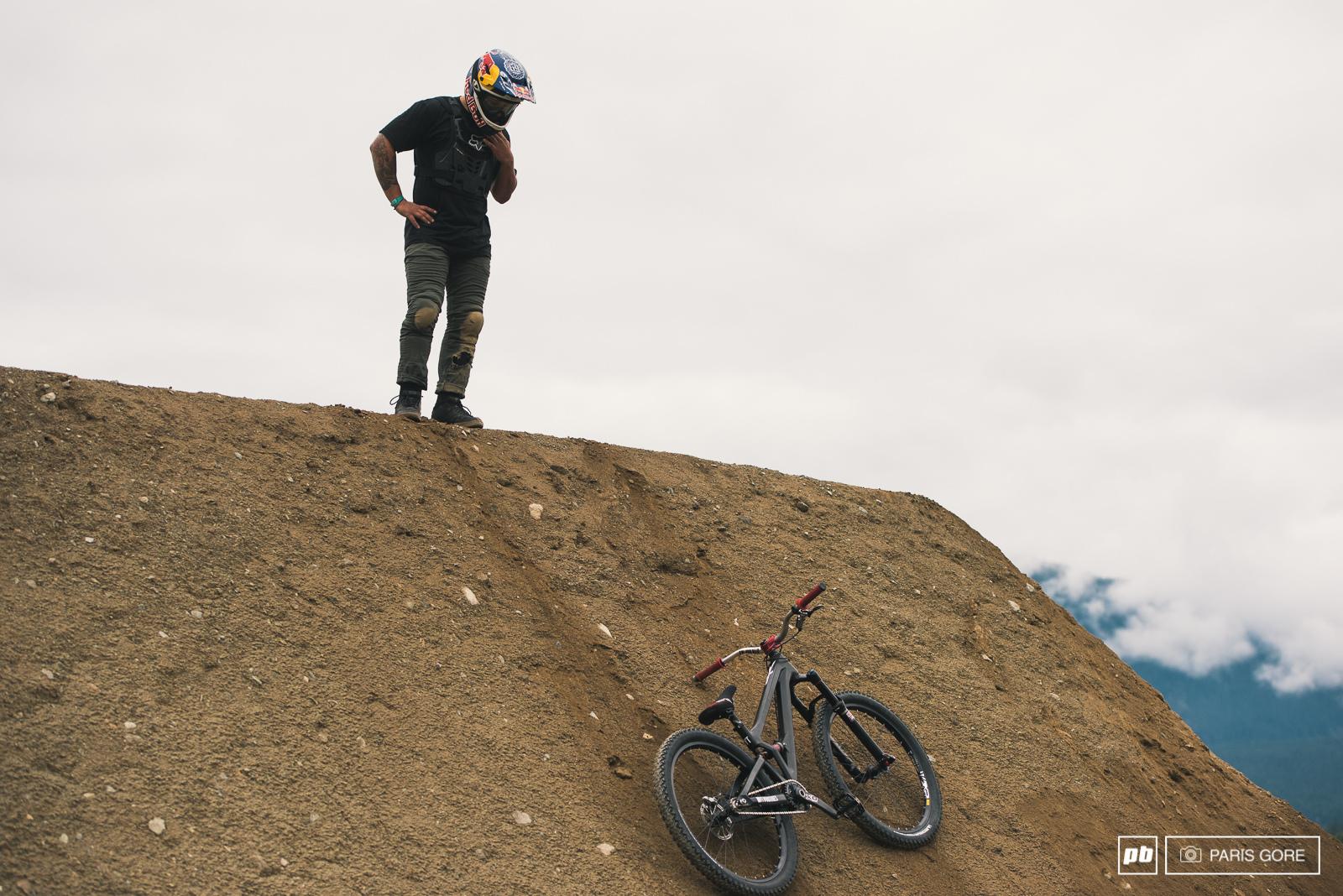 Yannick Graneri got his bike stuck in a very interesting place.
