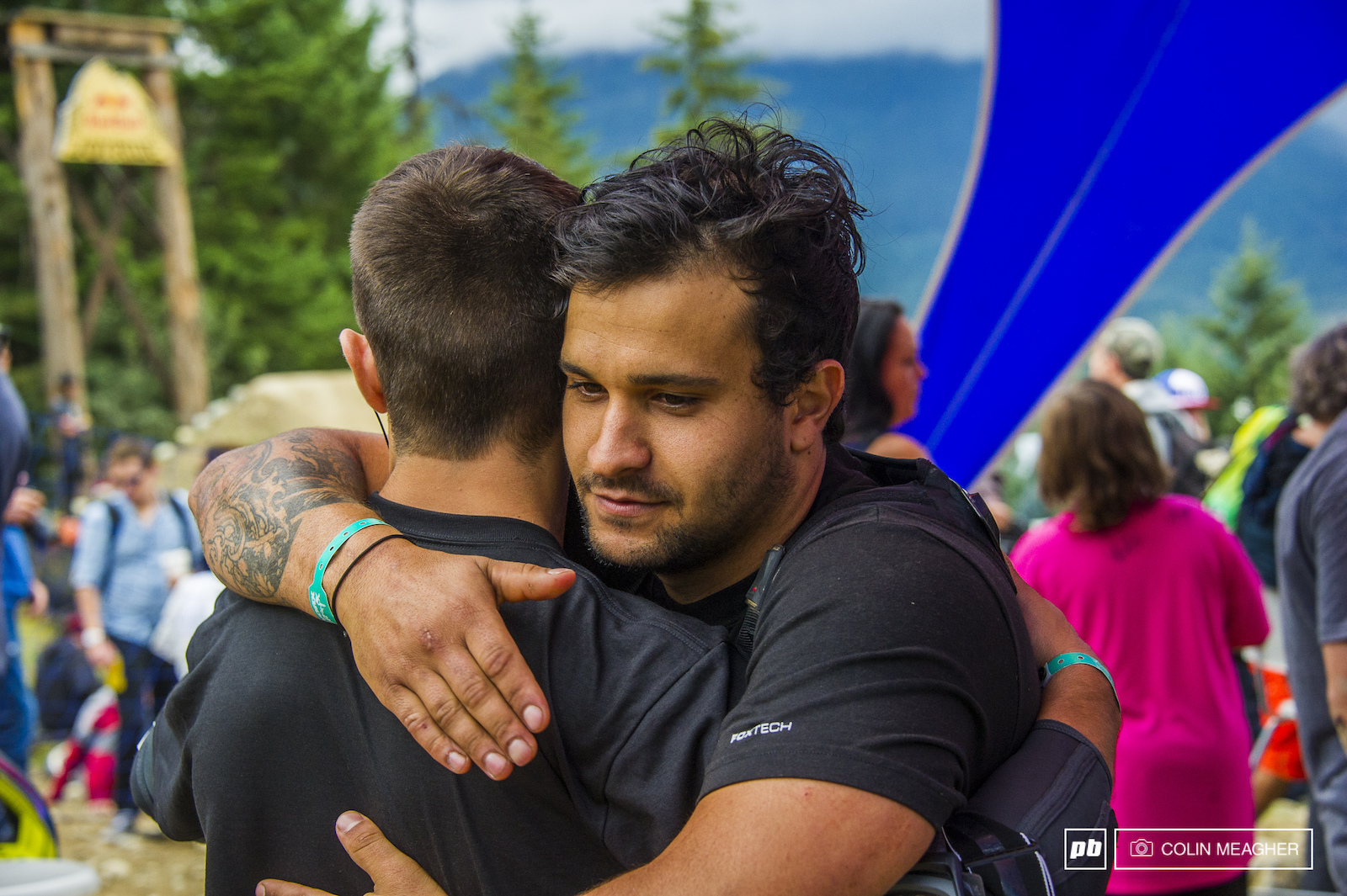 Pre-comp comraderie Anthony Messerie and Yannick Grannieri