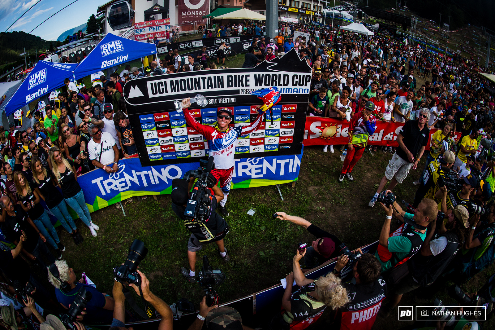 Earth-shattering talent and ground-breaking pace on a bike harnessed for a third time to produce a hat-trick of overall World Cup titles. With 2011 2012 and 2015 trophies already in his cabinet could Aaron Gwin be one season away from snatching the wins record from Minnaar