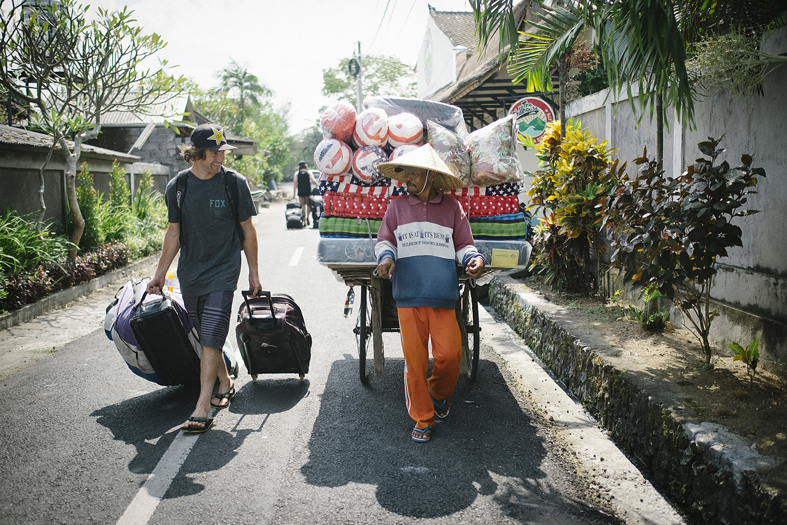 Cam McCaul arrives at the Chillhouse in Bali Indonesia