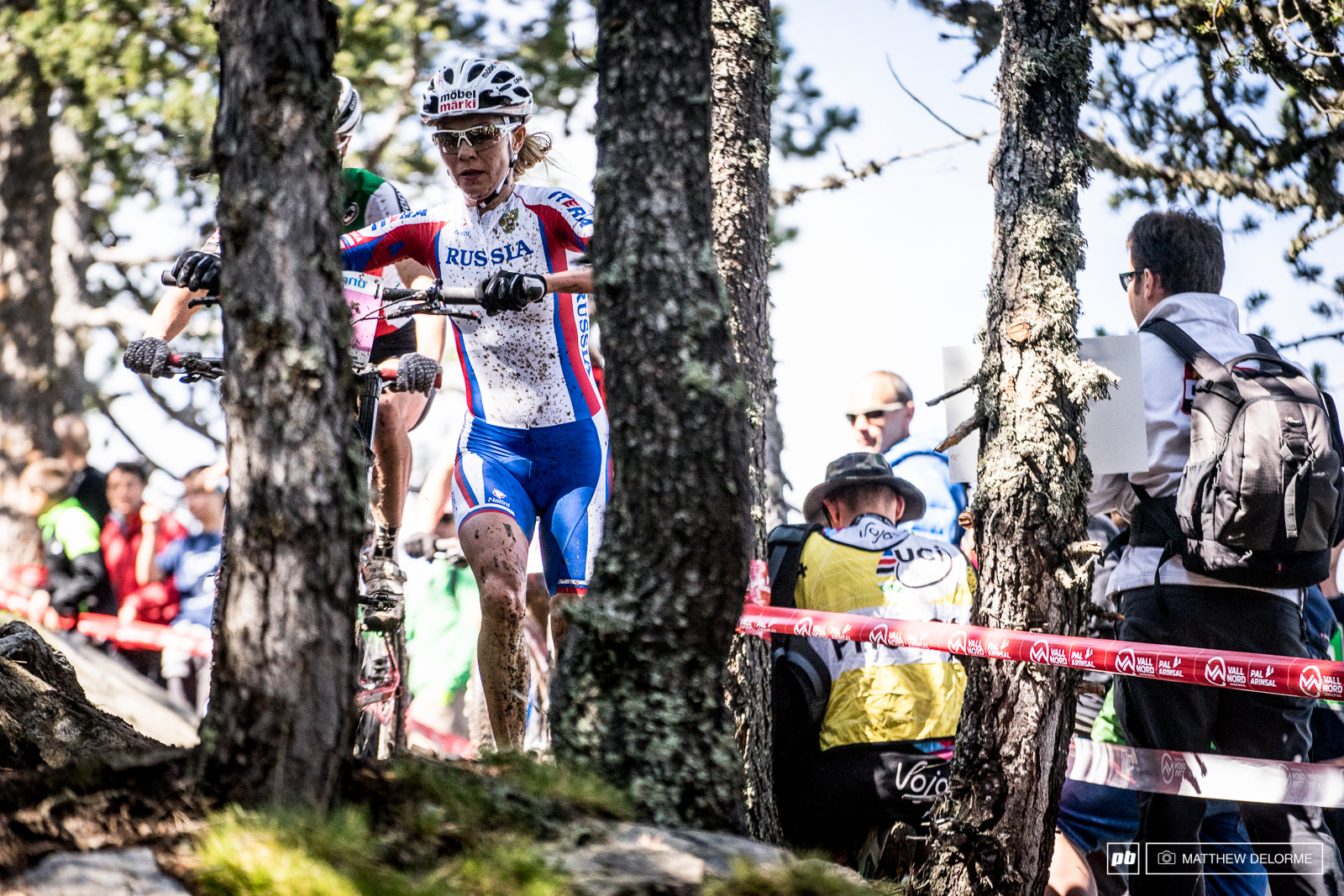 Irina got caught up on the technical uphill and had to run the descent on the first lap.