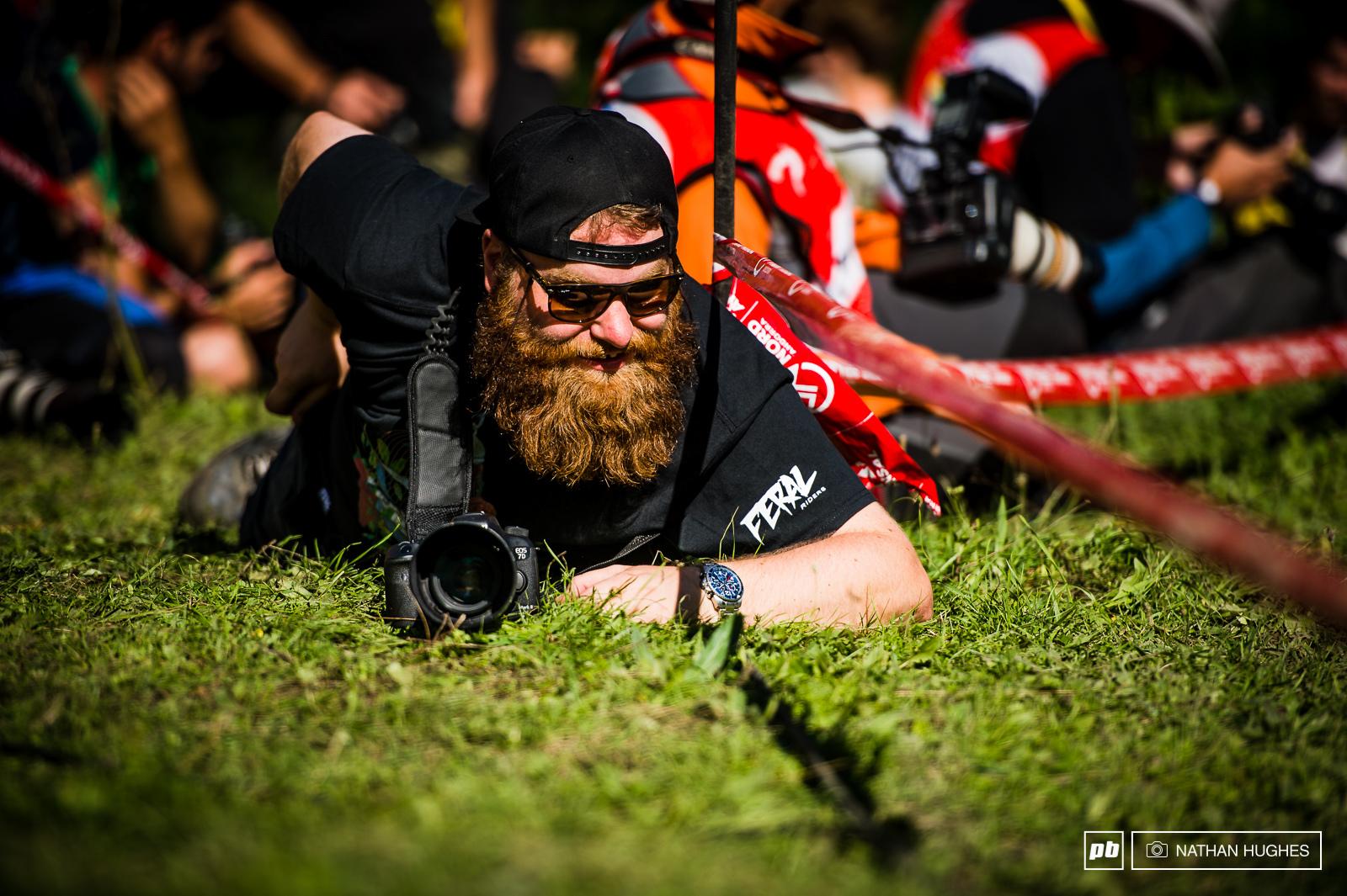Bearded sniper on the grassy knoll.