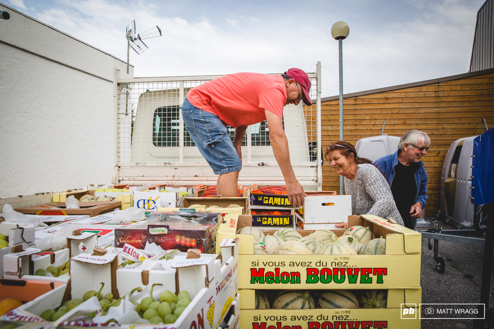 It takes a whole truckload of fruit and vegetables to prepare the post-race meal for riders on Sunday.