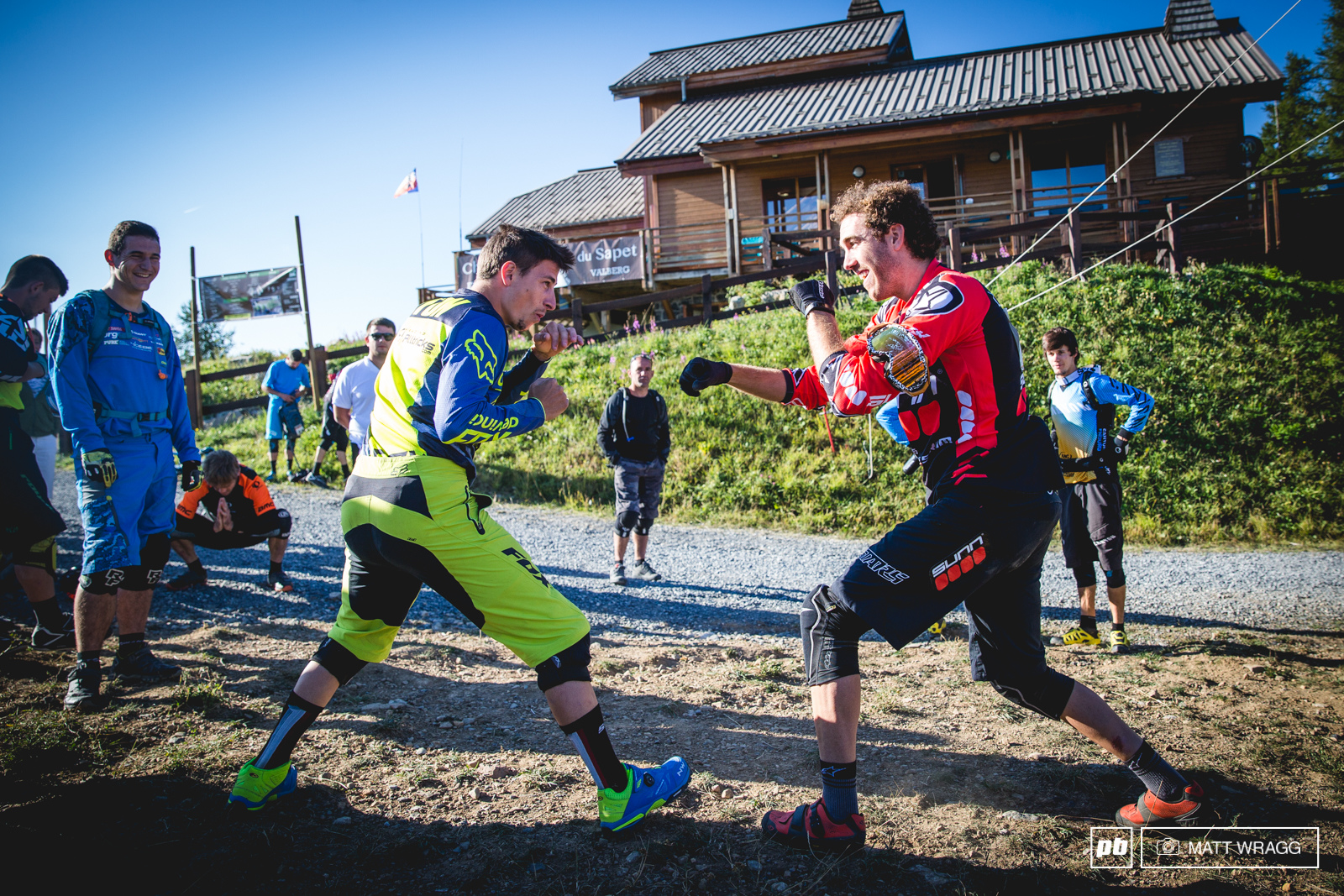 Everyone had their routine to get warmed up for racing - Damien Oton and Thomas Lapeyrie went for some sparring to get the blood flowing...