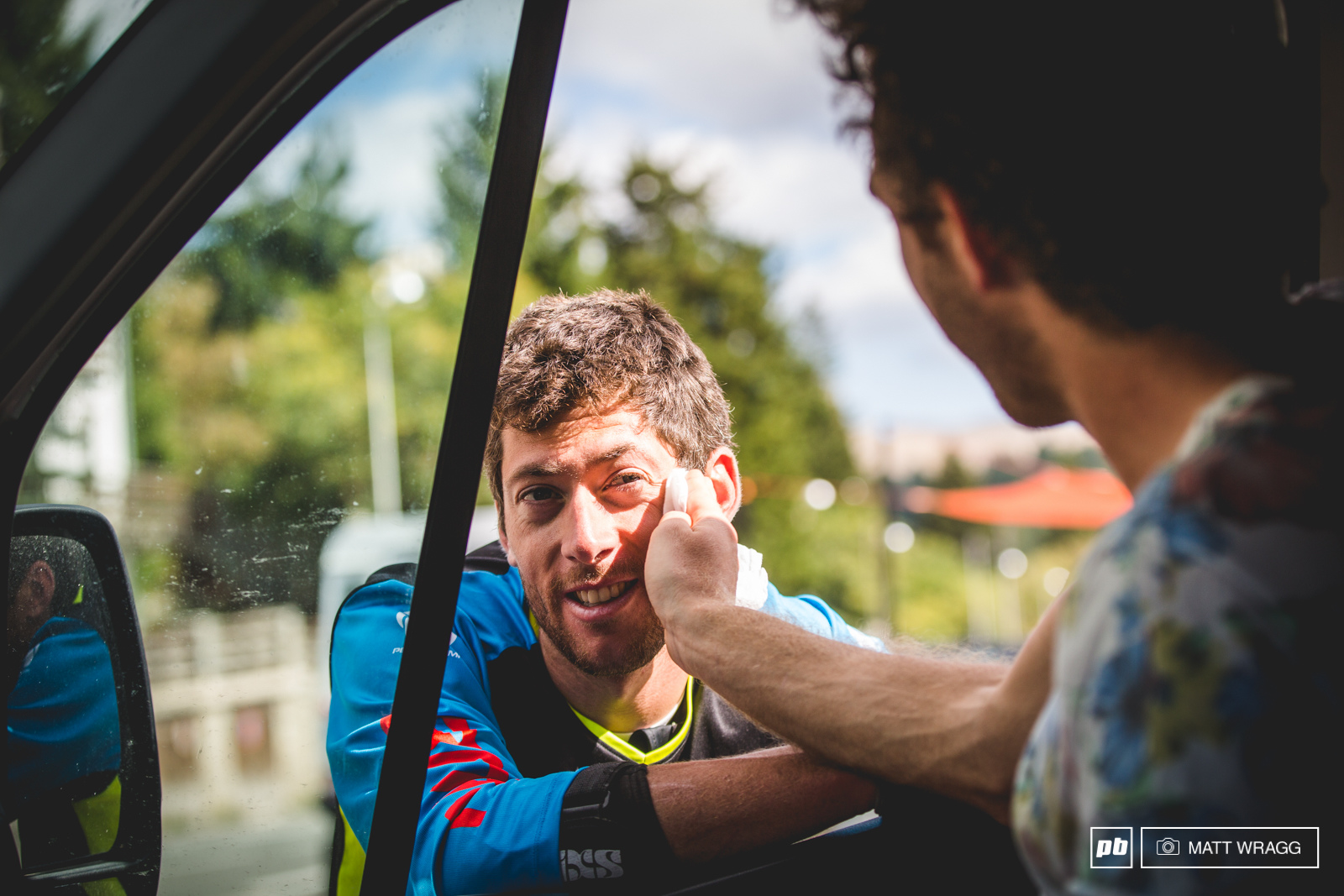 The winners get all thw attention. Thomas Lapeyrie offers Francois Bailly-Maitre some TLC before the podium.