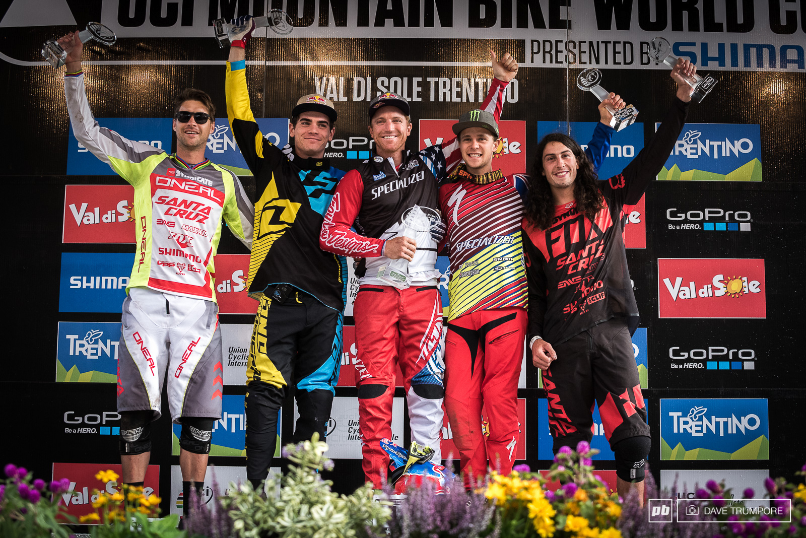 The top five in the overall World Cup standings hold their trophies in Val di Sole.
