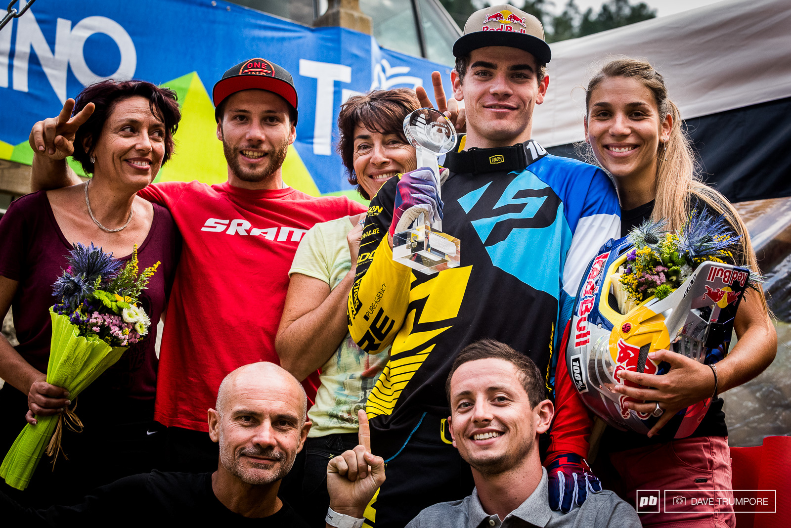 Friends and family celebrate in Val di Sole following World Cup finals.