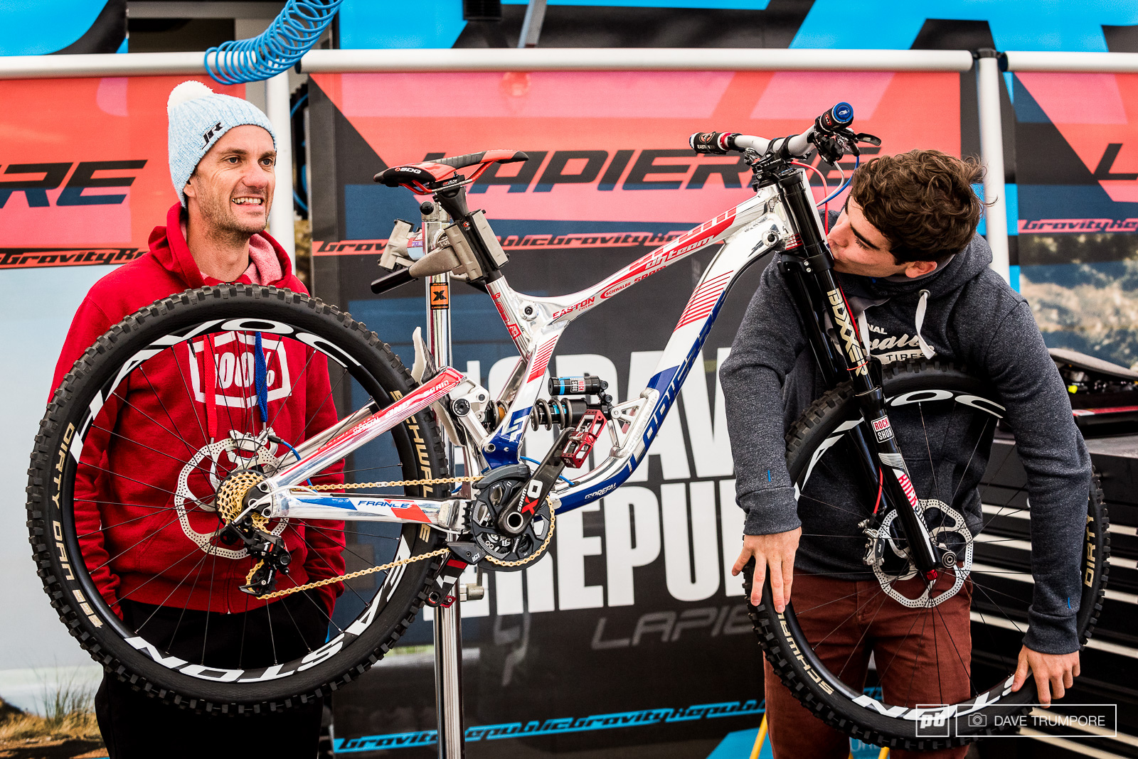 Loic in love with his new custom bike at World Champs. His mechanic Jack prepped the bike in secret and surprised Loic on the morning of the first training session.