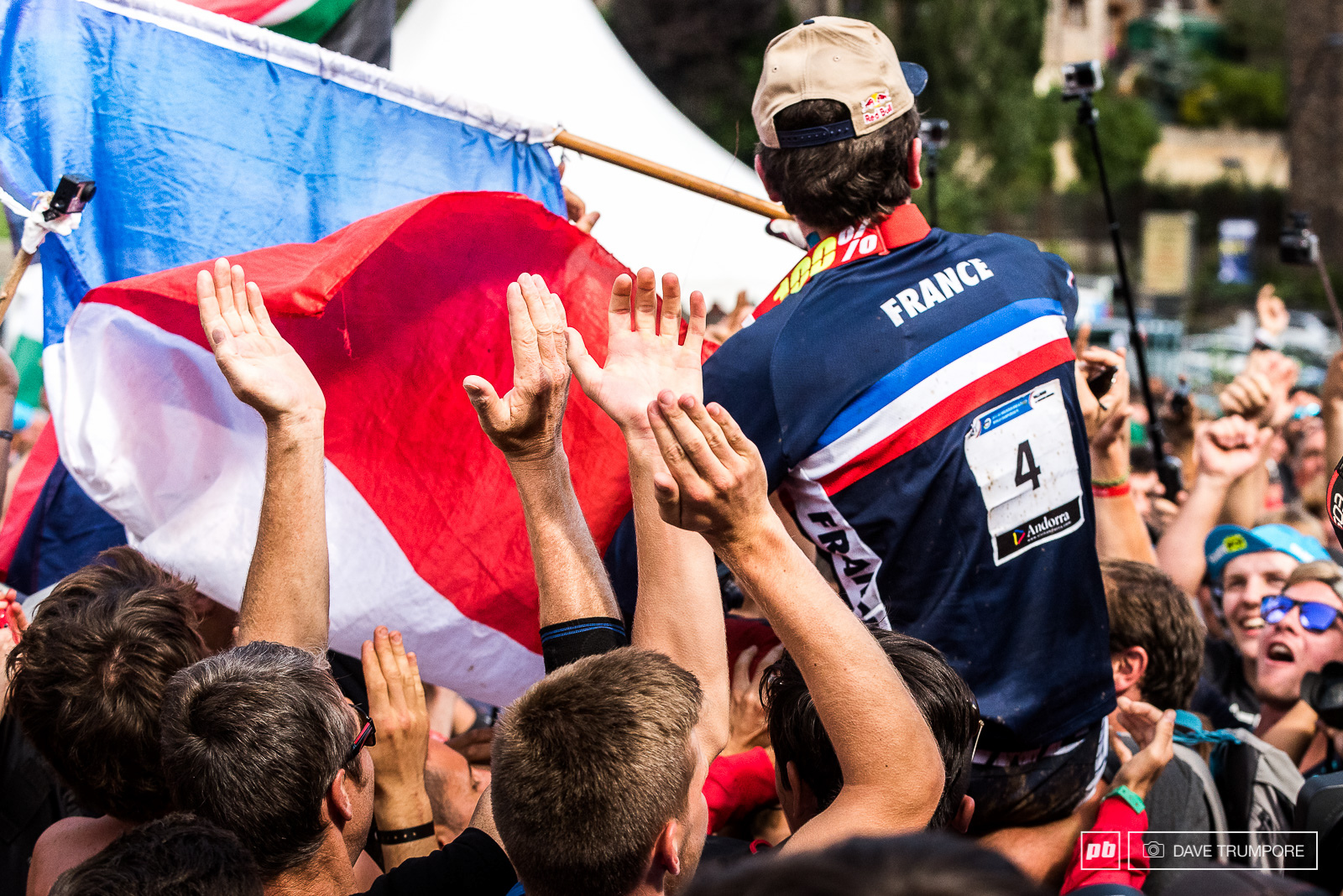 A rider s favorite and a fan favorite Loic is carried through the crowd to the World Champs podium.