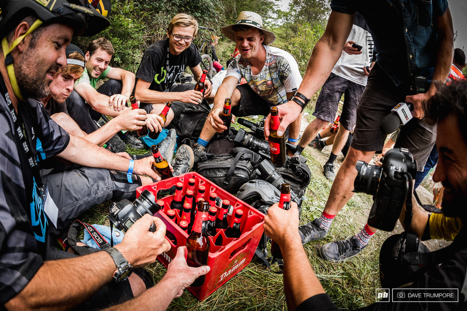The EWS media crew enjoys some refreshments on stage 7.5 during a massive delay that eventually eneded in the cancellation of stage eight.