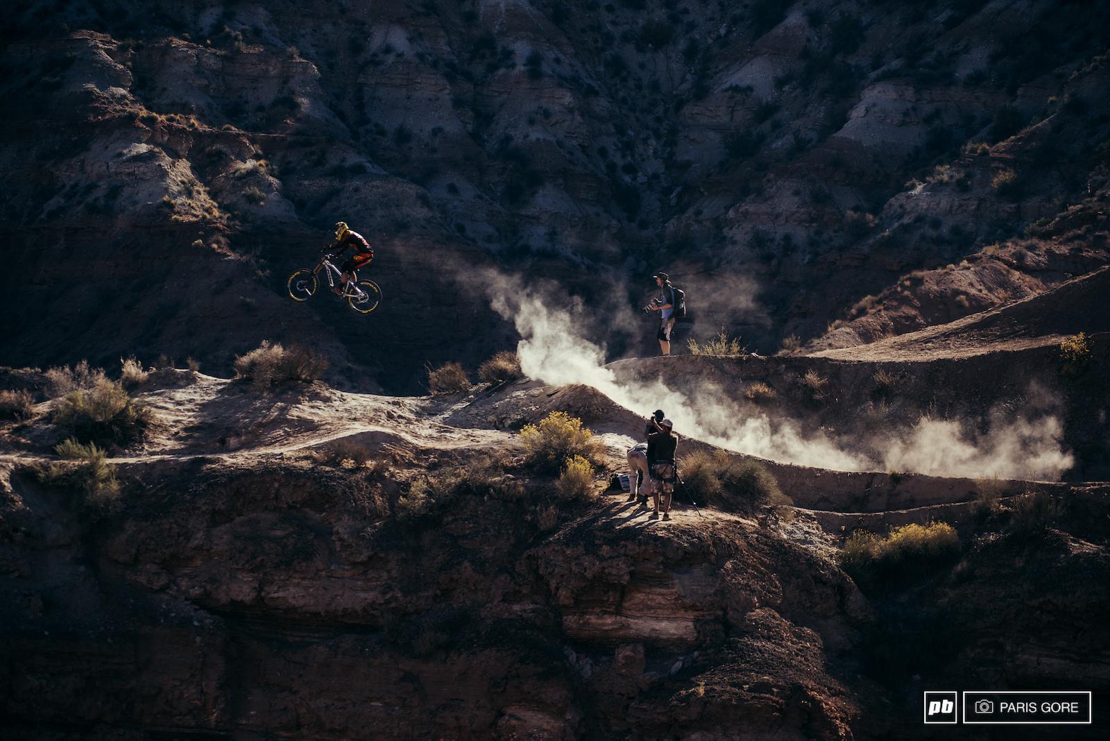 Logan Binggeli narrowly escaping the dust trails.