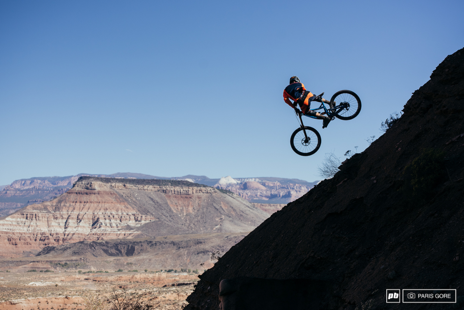 Bas Van Steenbergen whipping into the the cliffside.