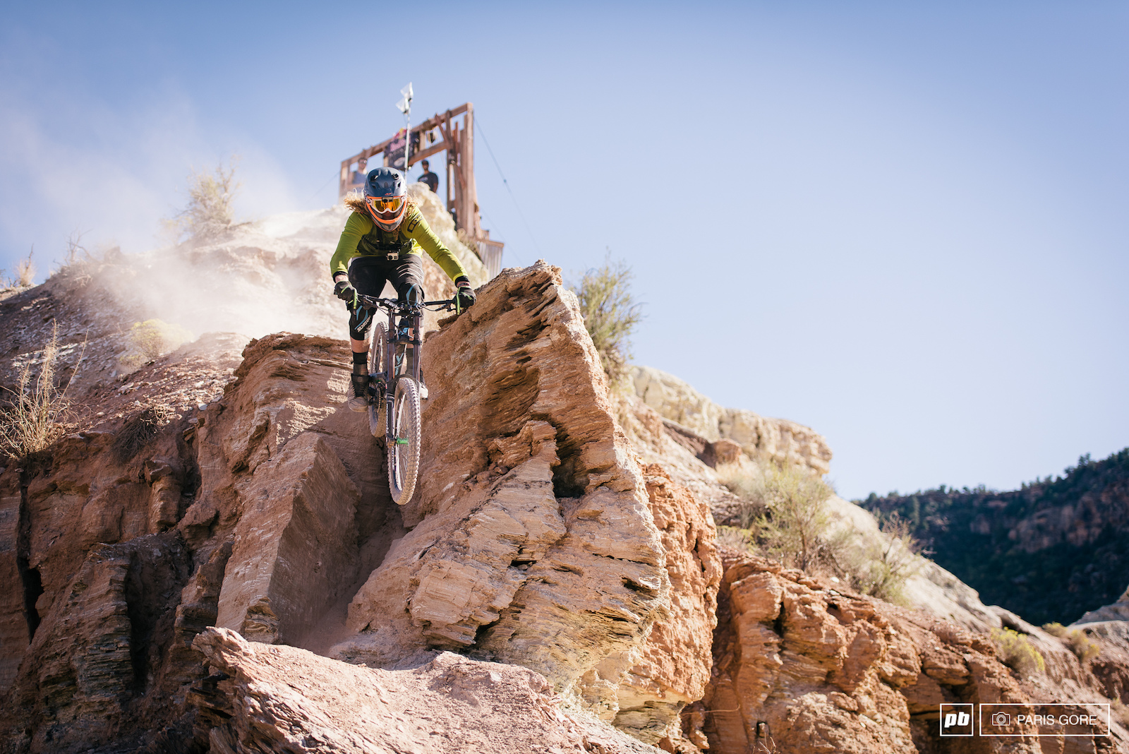 Kelly McGarry dropping in off one of the hardest most exposed moves in Rampage during his GoPro course preview run.