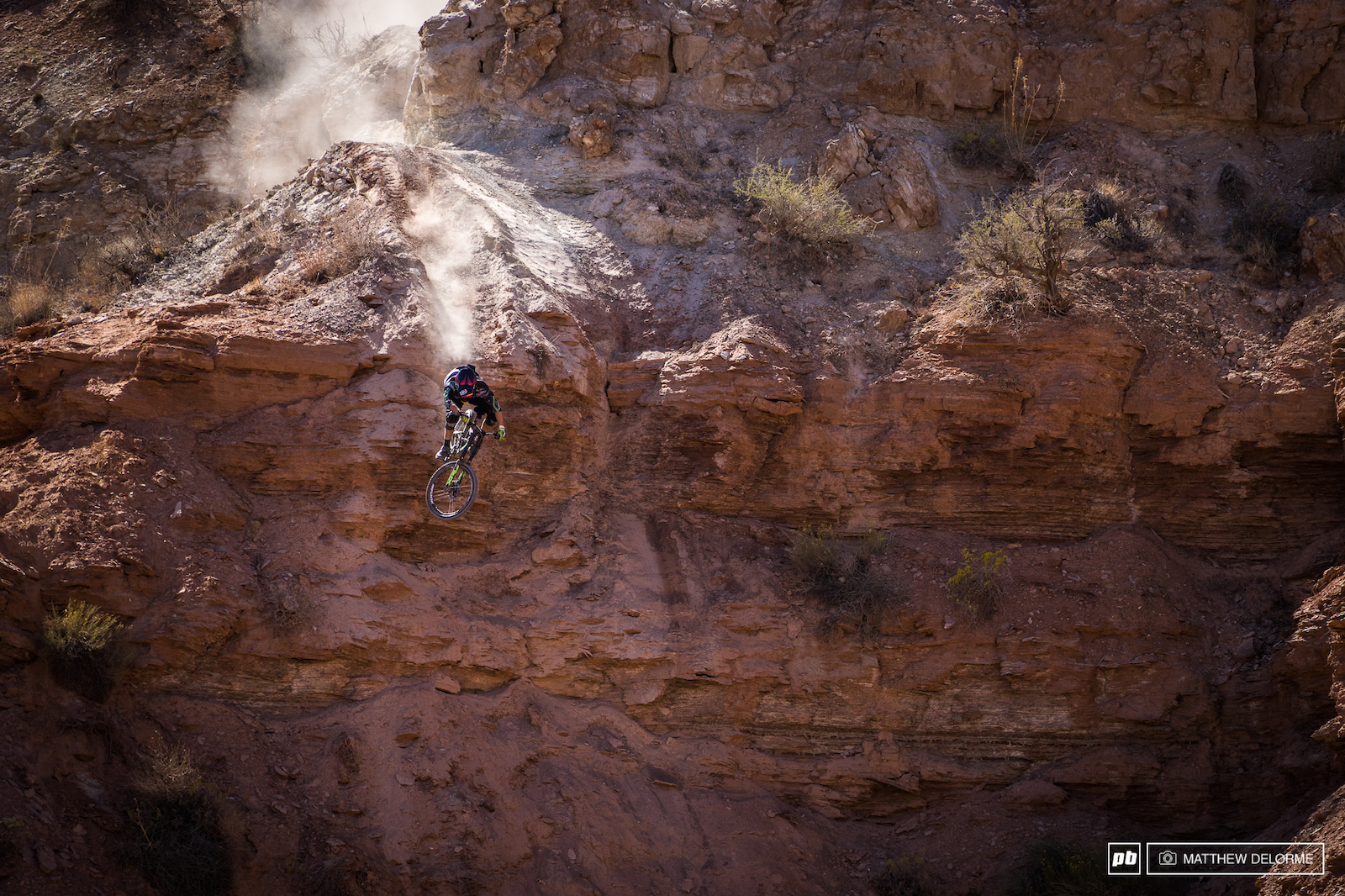 Norbs sending it down a cliff with the fine Virgin dust hot on his tail.