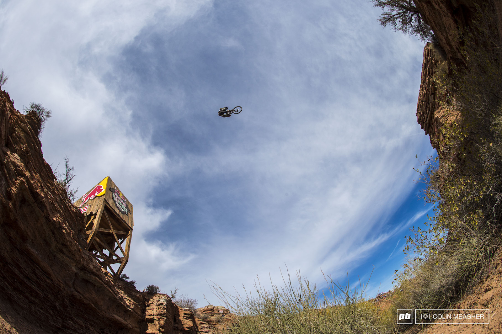 Nic Pescetto showing exactly how big the canyon gap is.