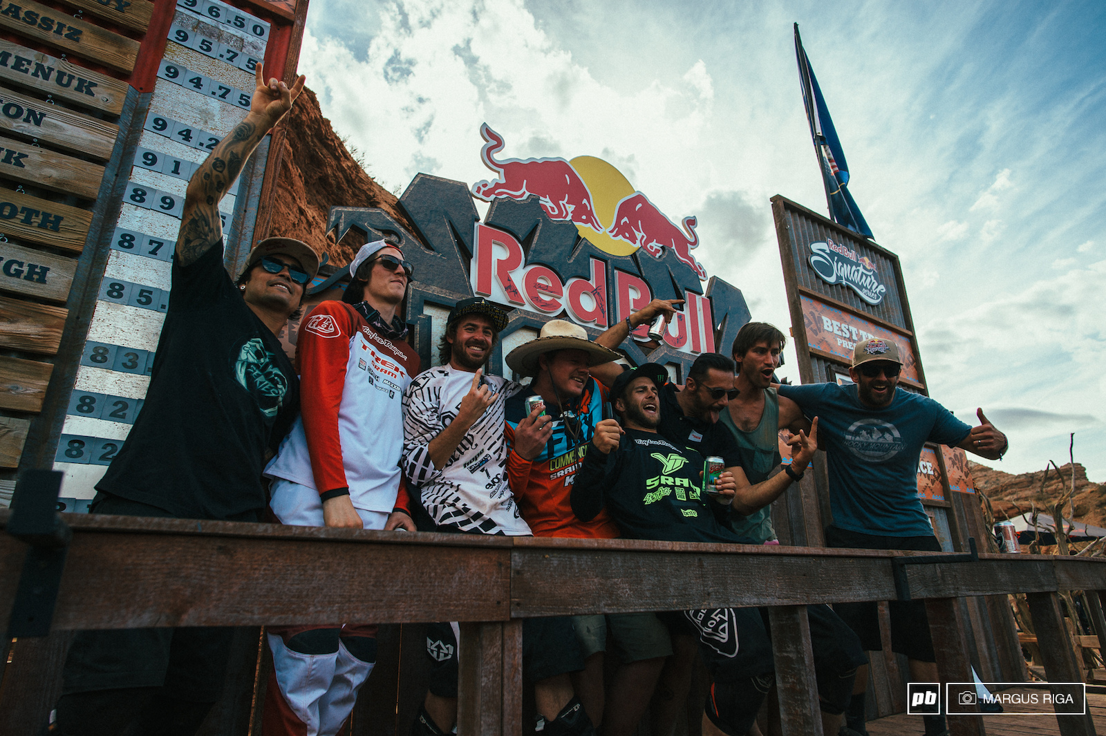 All the past winners of the Red Bull Rampage Andreu Lacondeguy Branden Semenuk Kurt Sorge Kyle Strait Cam Zink Cedric Gracia Tyler Klassen and Wade Simmons.
