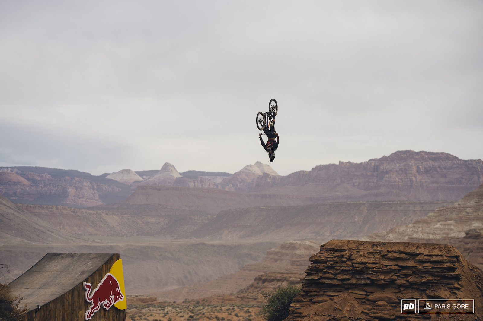 Antoine Bizet hands down would have run Red Bull Rampage this year had he landed his double backflip on the lower RZR booter. Frontflip up top canyon gap flip and double flip lower down was absolutely incredible to watch.