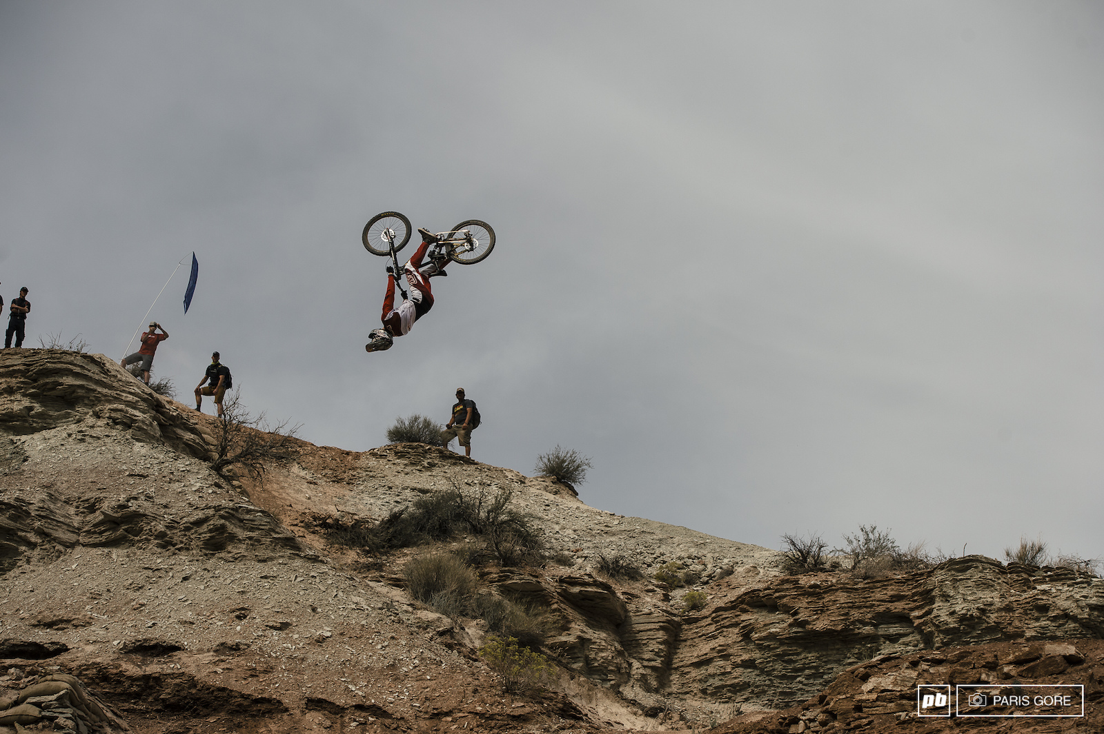 Brandon Semenuk straight flipping a huge stepdown on the upper portion of the course.